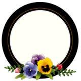 Vintage Frame, Pansies and Roses Stock Image