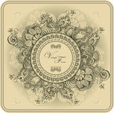 Vintage frame pattern and birds, hand-drawing. Stock Photos