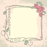 Vintage frame pattern and birds, hand-drawing Stock Photos