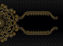 Vintage frame with pattern and golden flower. On a black background with a pattern Royalty Free Stock Image