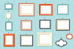 Vintage frame photo picture painting drawing template icons set wall background flat design vector illustration. Vintage frame photo painting picture drawing vector illustration