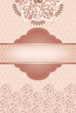 Vintage frame in pink colors decorated with flower Royalty Free Stock Image