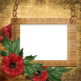 Vintage frame with poppies Royalty Free Stock Images