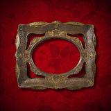 Vintage Frame on Red Velvet Background Royalty Free Stock Photography