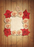 Vintage frame with roses. Royalty Free Stock Photos