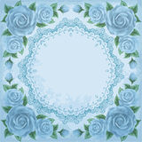 Vintage frame with roses Stock Images