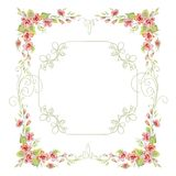 Vintage frame with roses. And creeping plant Stock Photo
