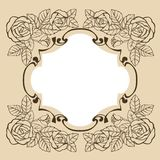 Vintage frame with roses for greeting card, invitation. vector illustration