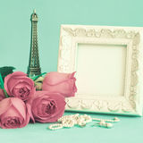 Vintage Frame and roses Stock Photos
