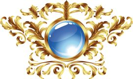 Vintage frame. Round. In a gold frame Stock Photography