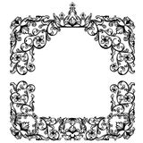Vintage frame with royal crown among floral motif Stock Photography