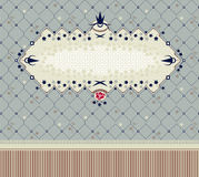 Vintage frame on seamless floral background. Use as template for invitation, cover, postcard etc. Several patterns swatches included, easy to edit and recolor Royalty Free Stock Photo