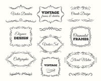 Vintage frame set. Ornate frames and scroll elements. Calligraphic Page Dividers. Stock Photos