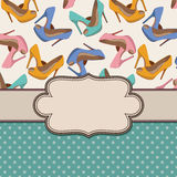 Vintage  frame with shoes. Royalty Free Stock Photos