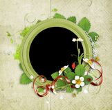 Vintage frame with  strawberry flowers Stock Photos