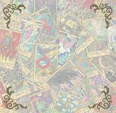Vintage frame with Tarot cards in pile and corner patterns stock illustration