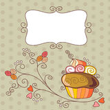 Vintage frame with tasty cute cupcake. Royalty Free Stock Images