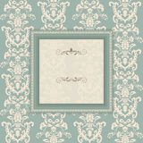 Vintage frame on victorian seamless background Royalty Free Stock Images