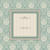 Vintage frame on victorian seamless background Stock Photo