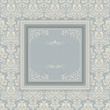 Vintage frame on victorian seamless background Stock Image