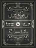 Vintage frame wedding invitation card on black chalkboard Stock Image