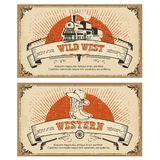 Vintage frame western cards.Vector illustration Royalty Free Stock Photo