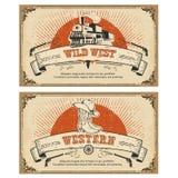 Vintage frame western cards.Vector illustration Royalty Free Stock Photo