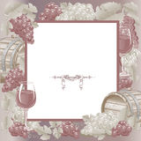 Vintage frame with wine and grapes Stock Photography