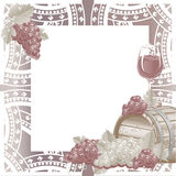 Vintage frame with wine and grapes Stock Images