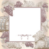 Vintage frame with wine and grapes Stock Image
