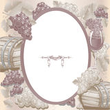 Vintage frame with wine and grapes Royalty Free Stock Photography