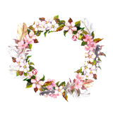 Vintage frame - wreath in boho style. Feathers and spring flowers (cherry, apple flower blossom). Watercolor Royalty Free Stock Photo