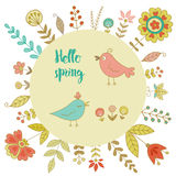 Vintage frame for your design with birds and flowers Stock Photography