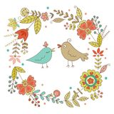 Vintage frame for your design with birds and flowers Royalty Free Stock Photo