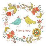 Vintage frame for your design with birds and flowers Royalty Free Stock Images