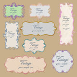 Vintage frames. Vintage graphic elements on brown background isolated Royalty Free Illustration