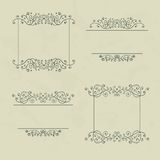 Vintage frames. Set of four floral vintage frames with vintage backdrop, vector illustration Stock Illustration