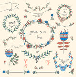 Vintage Frames And Handdrawn Floral Stock Images