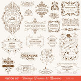 Vintage Frames and Banners, Calligraphic Elements. Vector Set: Vintage Frames and Banners, Calligraphic Design Elements and Page Decorations Stock Illustration