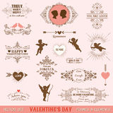 Vintage Frames and Banners Love Theme Stock Images