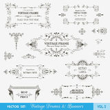 Vintage Frames and Banners Set. Vector Set: Vintage Frames and Banners, Calligraphic Design Elements and Page Decorations Stock Photo