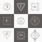 Vintage Frames and Banners. Vector Set: Vintage Frames and Banners, Calligraphic Design Elements and Monograms Royalty Free Stock Photos