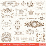 Vintage Frames and Banners. Vector Set: Vintage Frames and Banners, Calligraphic Design Elements and Page Decorations Vector Illustration