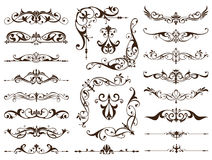 Vintage frames, corners, borders with delicate swirls in Art Nouveau decoration and design works with floral motifs vintage style Stock Photos
