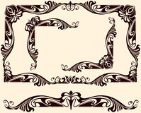 Vintage frames corners. Vintage frames and corners with delicate swirls in Art Nouveau for decoration and design works with floral motifs vintage style with Royalty Free Stock Photo