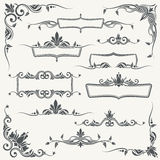 Vintage frames, corners and dividers with decorative floral ornaments Stock Images