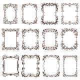 Vintage frames and corners with ornaments. Beautiful vector vintage corners, frames, borders in an old baroque. Black Graphics ornaments on a white background Royalty Free Stock Image