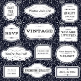 Vintage Frames on Damask Background. Set of Vintage frame and label shapes on seamless damask background.  Damask background swatch is included in swatches panel Royalty Free Stock Photography