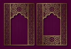 Vintage frames in form of oriental door and window. Brochure, book or greeting card golden cover backdrop design.  vector illustration