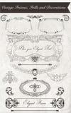 Vintage Frames, Frills and Decorations. Vintage hand draw frames, frills and decorations royalty free illustration
